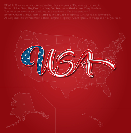 Vector illustration of a custom-made Lettering of the word �USA� over the United States map. The design follows the flow of a waving American flag. All elements neatly on well-defined layers & groups Illustration
