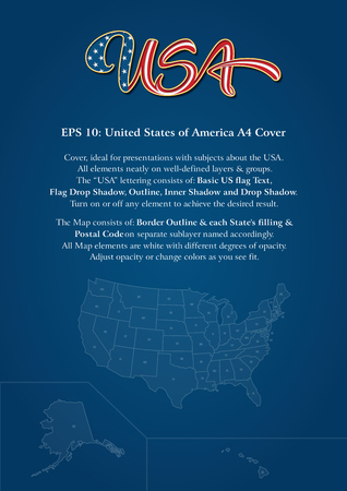 """Cover mock-up consists of a custom-made """"USA"""" lettering, the United States map and copy space. The lettering follows the flow of a waving American flag. All elements neatly on well-defined layers"""