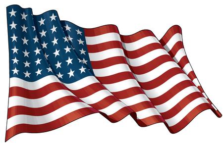 Ilustración de un EE.UU. agitando bandera de 48 estrellas del período 1912-1959. Este diseño fue utilizado por los EEUU en guerras mundiales y la guerra coreana.