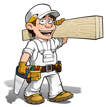 Cartoon illustration of a handyman - carpenter carrying planks of wood.