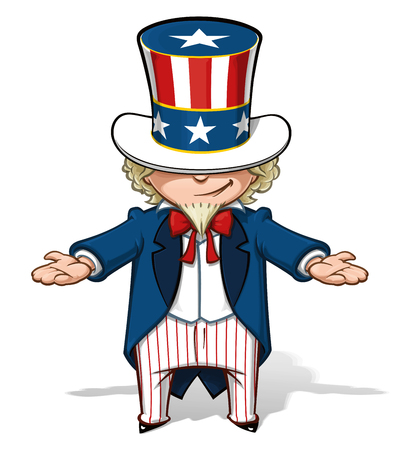 Clean-cut, overview cartoon illustration of Uncle Sam showing with his hands.