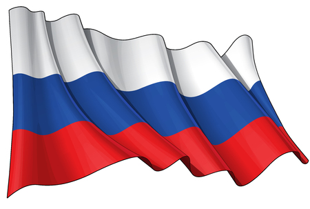 Vector Illustration of a waving Russian flag. All elements neatly organized. Lines, Shading & Flag Colors on separate layers for easy editing. Иллюстрация