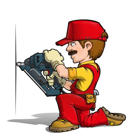 Cartoon illustration of a handyman nailing with a nail-gun.