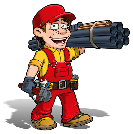 Cartoon illustration of a handyman - plumber carrying pipes and a wrench. 矢量图像