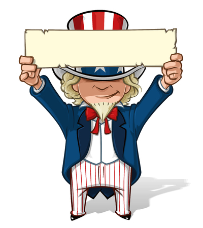 Clean-cut, overview cartoon illustration of Uncle Sam holding a sign overhead.