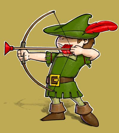 Cartoon Illustration of a little boy dressed as Robin Hood.
