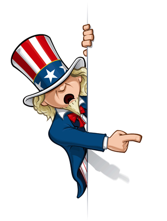 Clean-cut, overview cartoon illustration of Uncle Sam pointing at a surface [waiting to be filled].