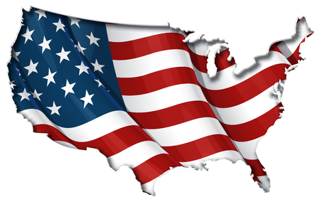 USA map cut-out, highly detailed on the edge's shading, with a waving stars & stripes underneath. The Settle thickness on the cut-out border follows the inner shadow's light source.