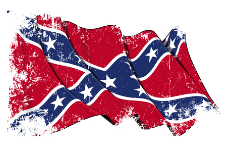 Grunge Vector Illustration of a Waving Confederate Rebel flag under a texture layer. All elements neatly organized. Texture, Lines, Shading & Flag Colors on separate layers for easy editing.
