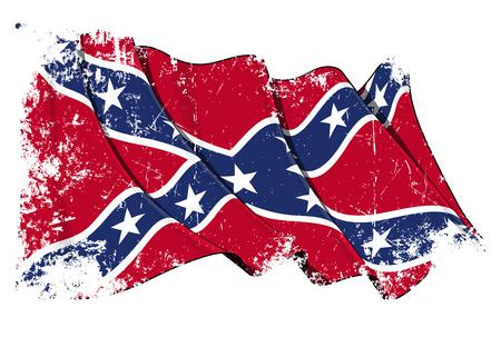 Ilustração vetorial do grunge de uma bandeira rebelde confederada de ondulação sob uma camada de textura. Todos os elementos ordenados de forma organizada. Textura, linhas, sombras e cores da bandeira em camadas separadas para facilitar a edição.