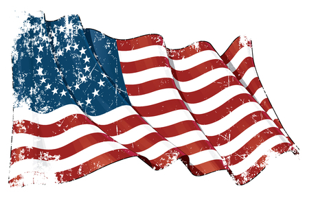 Illustration of a scrached waving American civil war Union (North) flag against white background
