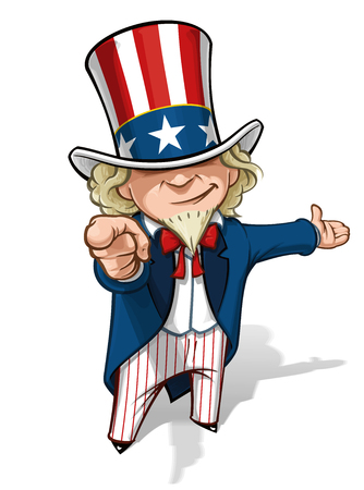 Clean-cut, overview cartoon illustration of Uncle Sam pointing the finger in a classic WWI poster style and presenting.