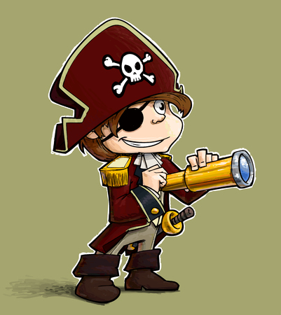 Cartoon Illustration of a Little boy dressed as a Pirate.