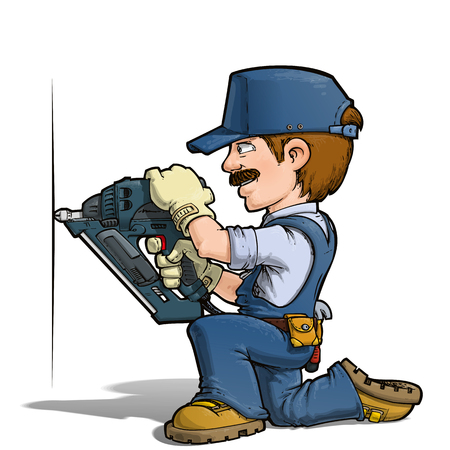 Cartoon illustration of a handyman nailing with a nail-gun. a043fc46de2d