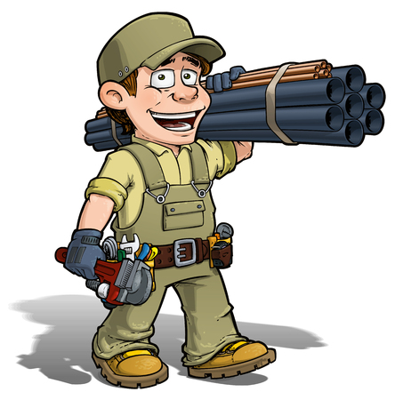 do it: Cartoon illustration of a handyman - plumber carrying pipes and a wrench. Illustration