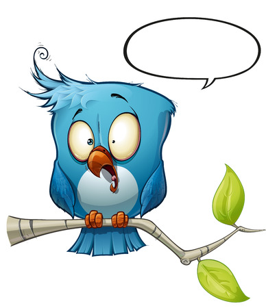 opinions: A blue bird communicates with style comments or opinions to the world! Illustration
