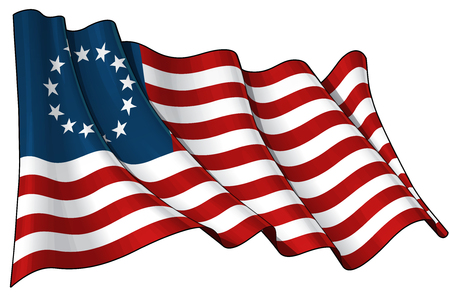 Vector illustratie van een Amerikaanse Betsy Ross wuivende vlag.