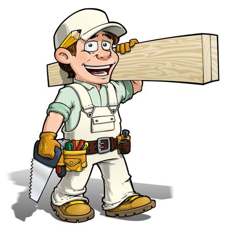 Beeldverhaalillustratie van een manusje van alles - timmermans dragende planken van hout. Vector Illustratie