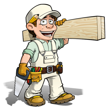 yourself: Cartoon illustration of a handyman - carpenter carrying planks of wood.