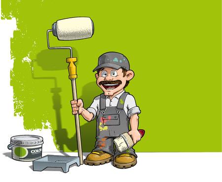Cartoon illustratie van een handyman - Schilder staande door een verf emmer & een verf lade, met een verf roller voor een half geschilderde muur. Stock Illustratie