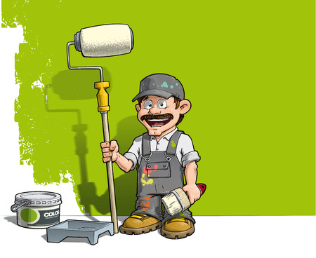 Cartoon illustration of a handyman - Painter standing by a paint bucket & a paint tray, holding a paint roller in front of a half-painted wall. Illustration