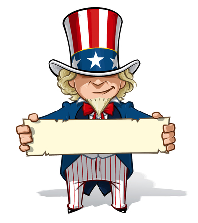 Clean-cut, overview cartoon illustration of Uncle Sam holding a sign. Stock Vector - 79453411
