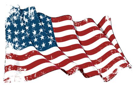 Illustration grunge d'un drapeau US 48 d'étoiles ondulant de la période 1912-1959. Ce modèle a été utilisé par les États-Unis lors des deux guerres mondiales et de la guerre de Corée.