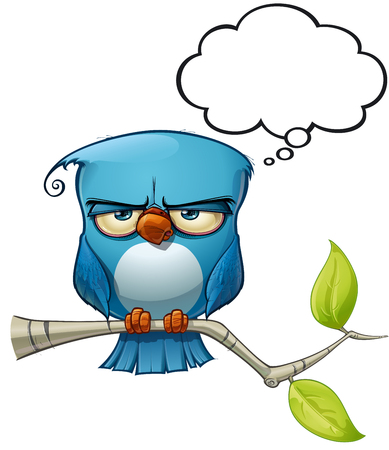 twit: A blue bird communicates with style comments or opinions to the world! Illustration