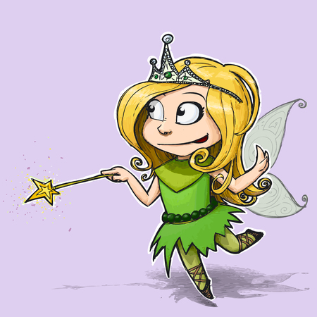 dressing up party: Cartoon Illustration of a Little girl dressed as a Fairy.