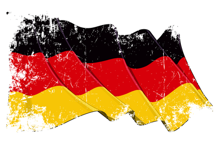 手を振っているドイツの旗のグランジ ベクトル イラスト。すべての要素はきちんと整理。簡単に編集用に別のレイヤーにテクスチャ、線、シェーデ