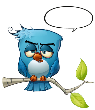 A blue bird communicates with style comments or opinions to the world! Illustration