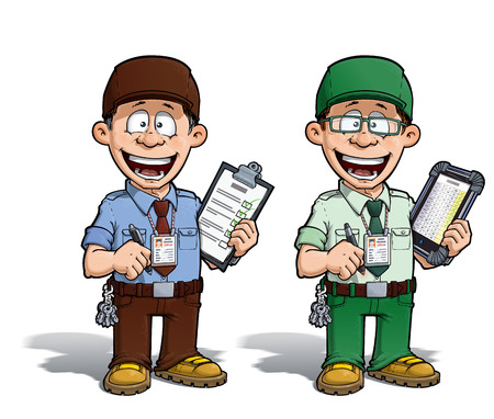 Cartoon illustration of a happy supervisor filling a check list. Two versions: 1) on with a pen on a traditional pad and 2) on a tablet more hip with glasses.