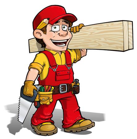 Cartoon illustration of a handyman - carpenter carrying planks of wood.
