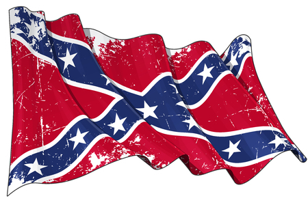 Illustration of waving Rebel flag with scratched surface. Illustration
