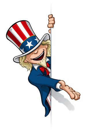 Clean-cut, overview cartoon illustration of Uncle Sam presenting a surface [waiting to be filled].