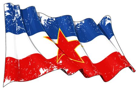 illustration of a damaged, waving Yugoslavian Flag against white background