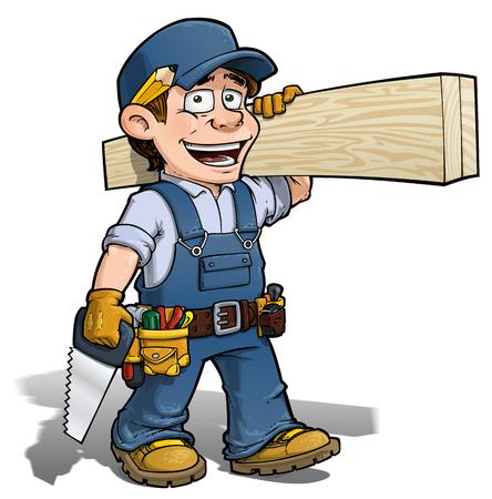 wood planks: Cartoon illustration of a handyman - carpenter carrying planks of wood.