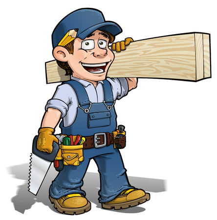 Cartoon illustration of a handyman - carpenter carrying planks of wood. 7008739a8d09