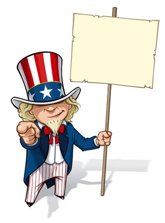 古典的な第一次世界大戦ポスター スタイルで指を指して、プラカードを持ってアンクル ・ サムのクリーン カット、概要の漫画イラスト。  イラスト・ベクター素材