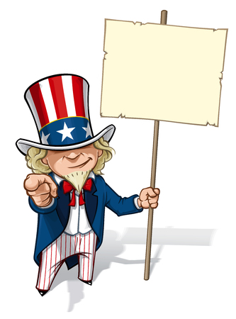 Clean-cut, overview cartoon illustration of Uncle Sam pointing the finger in a classic WWI poster style and holding a placard. Illustration