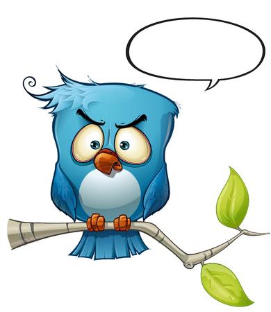 Een blauwe vogel communiceert met stijlopmerkingen of meningen over de wereld!