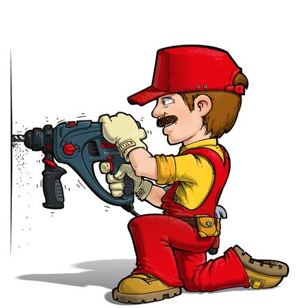 do it: Cartoon illustration of a handyman drilling on a wall.
