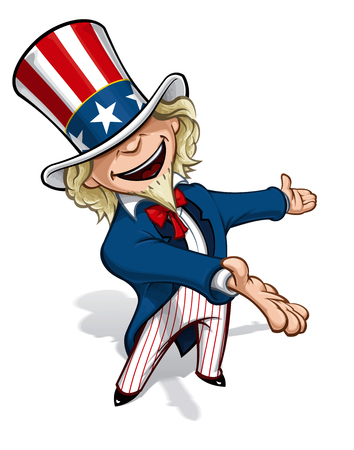 Clean-cut, overview cartoon illustration of Uncle Sam presenting. Illustration