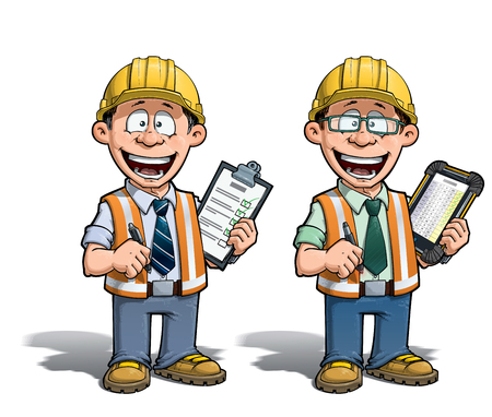 Cartoon illustration of a construction worker supervisor checking a project list.  Two versions: 1) on with a pen on a traditional pad and 2) on a tablet more hip with glasses. Illustration