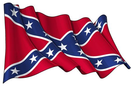 Ilustración del vector de una bandera rebelde que agita. Todos los elementos perfectamente organizados. Líneas, sombreado y colores de banderas en capas separadas para una fácil edición.