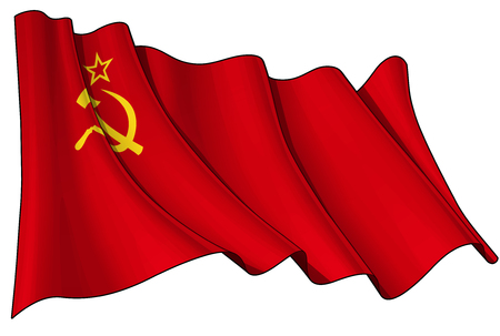 filthy: Vector Illustration of a waving Soviet Union flag against white background. All elements neatly organized. Lines, Shading & Flag Colors on separate layers for easy editing.