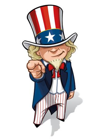 Clean-cut, overzicht cartoon illustratie van Uncle Sam met de vinger in een klassieke WWI-poster stijl. Stock Illustratie