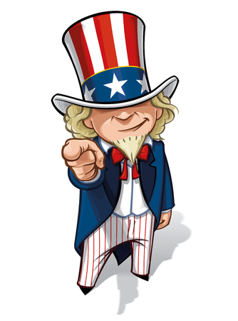 Clean-cut, overview cartoon illustration of Uncle Sam pointing the finger in a classic WWI poster style.