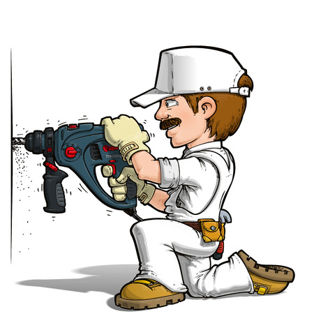 Cartoon illustration of a handyman drilling on a wall.