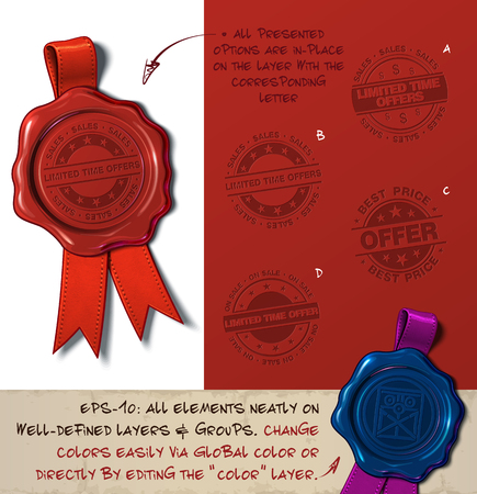 Vector Illustration of a wax seal with a set of stamps regarding  Limited Time Offer Sale subjects.